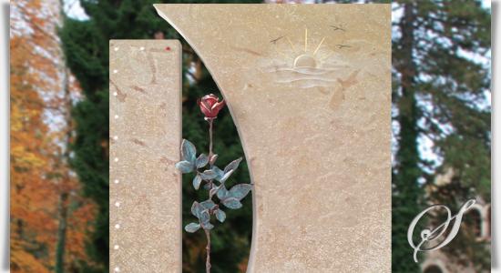 urnengrabstein mit rose. Black Bedroom Furniture Sets. Home Design Ideas