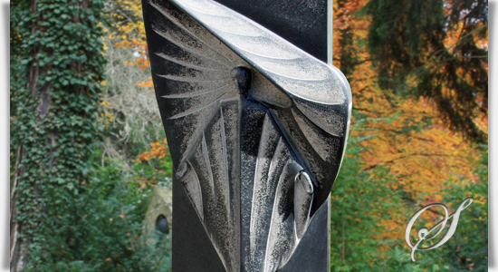 Engel Grabstein Granit schwarz originell