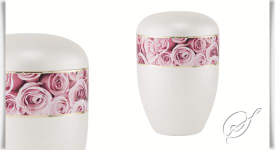 wei e bio urne andril mit rosen. Black Bedroom Furniture Sets. Home Design Ideas