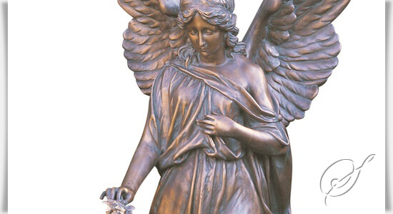 bronze engel skulptur isum mit rose. Black Bedroom Furniture Sets. Home Design Ideas