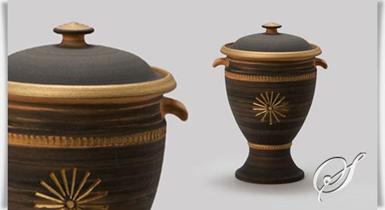 kleine urne aus ton f r zuhause caldas. Black Bedroom Furniture Sets. Home Design Ideas