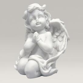Kniender Engel Skulptur aus Marmorguss - Angelo Midi