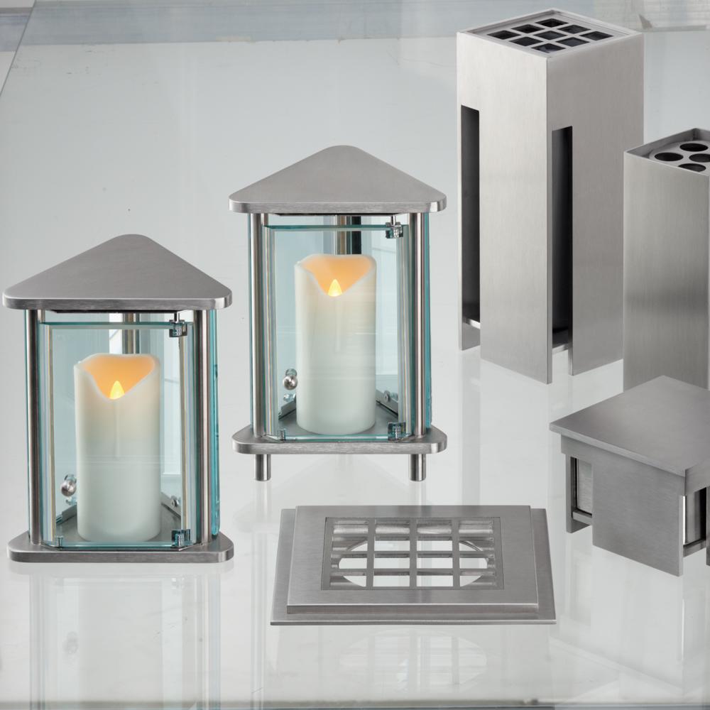 grablaterne modern 3 eckig edelstahl belena. Black Bedroom Furniture Sets. Home Design Ideas