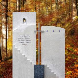 Grabstein mehrteilig mit Metall Kreuz & Treppe - Quirin