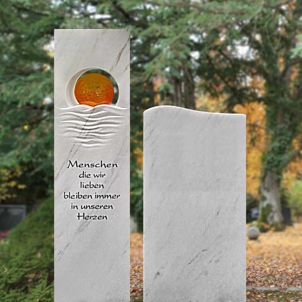 Grabstein »Loiret« mit Sonnenglas • Serafinum.de
