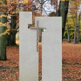 Doppelgrabstein moderne Grabsteinkunst mit Kreuz - Laterano