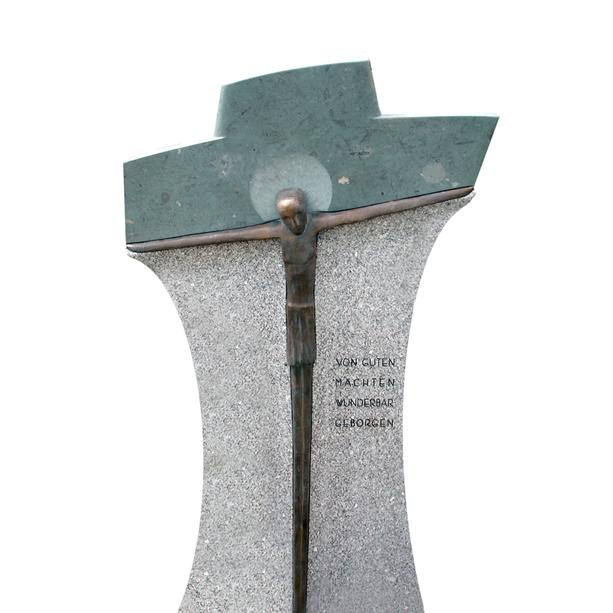 Granit Einzelgrabstein Christus am Kreuz Bronze - Benedetto