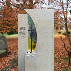 Schöner Grabstein Naturstein Bronze & Glas - Vetro