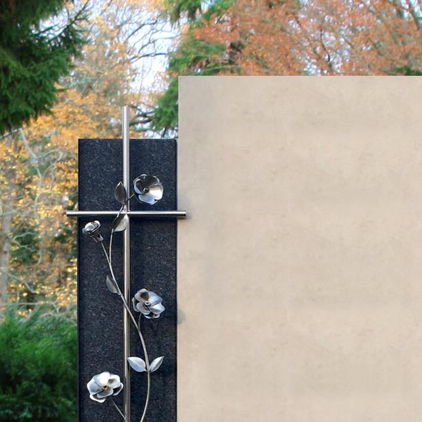 stilvoller grabstein anthea mit rosen. Black Bedroom Furniture Sets. Home Design Ideas