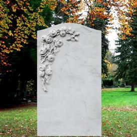 Weißer Marmor Grabstein mit Blumen - Corianda