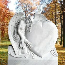 Besonders schöner Grabstein mit Herz & Engel - Meriana