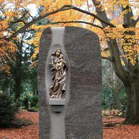 Granit Grabstein mit Bronze Mutter Gottes - Maria