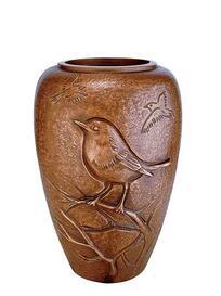 Schöne Bronze Grabvase mit Vogel / hellbraun - Persephone