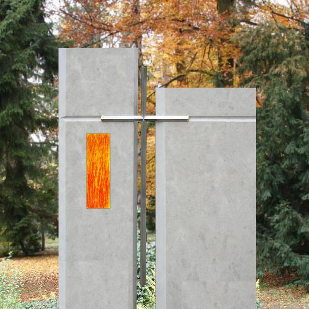 Glaseinsatz für Grabdenkmal in Orange-Gelb - Glasintarsie I-3