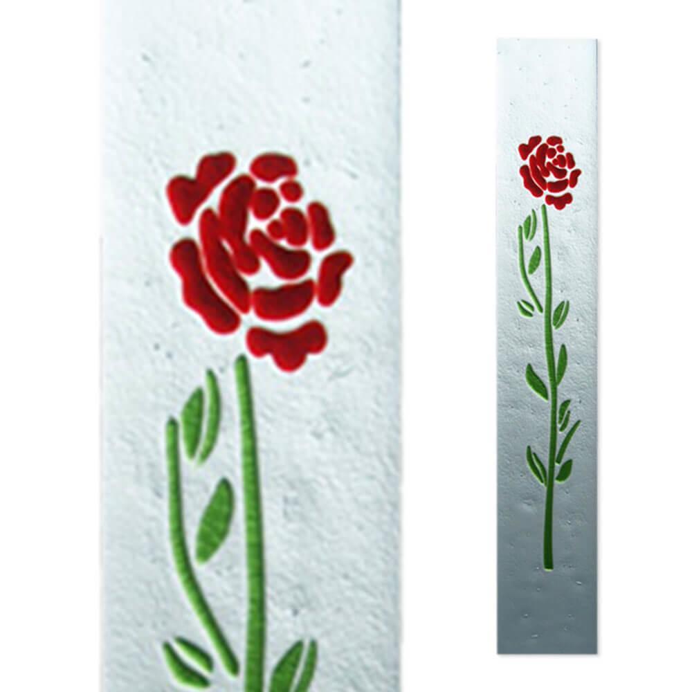 einzigartiges glasmotiv f r grabstein mit rose. Black Bedroom Furniture Sets. Home Design Ideas