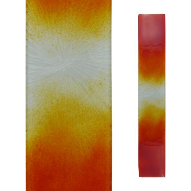 Modernes Grabmal Relief Glasdekor in Orange-Gelb - Glasstele S-82