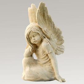Schöne Mädchen Engelfigur aus Steinguss - Clarina / Sand