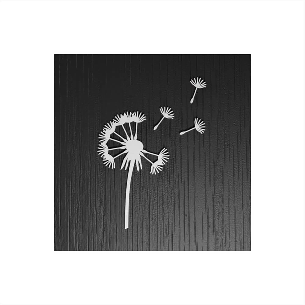 Stilvolle eckige Eichenurne mit Motiv Pusteblume - schwarz weiß - Taraxacum