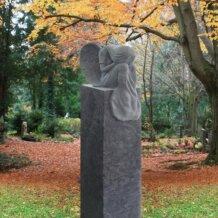 Grabstein Säule Granit mit Engel Figur