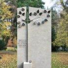 Grabstein mit Baum-Motiv aus Edelstahl