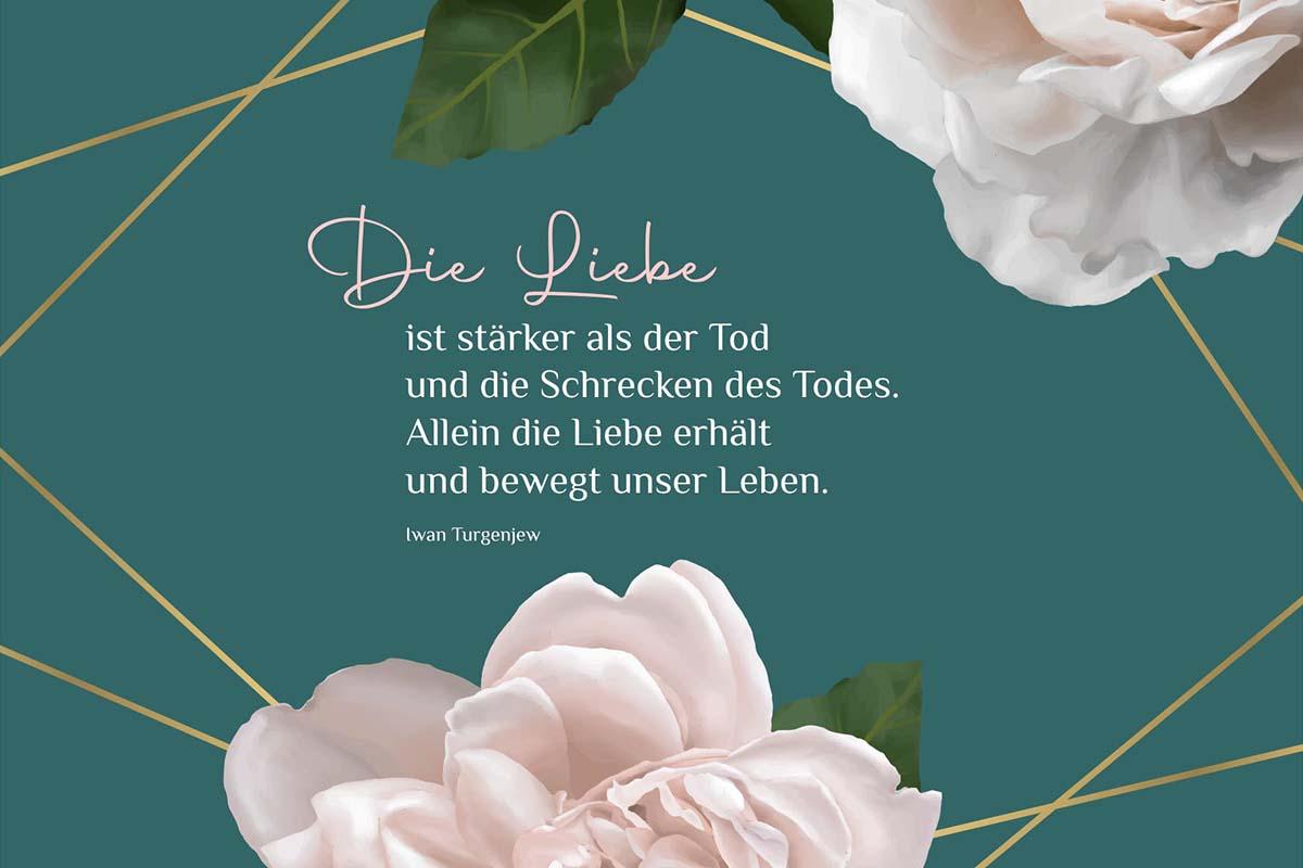 Trauerbild mit Rosen und Text